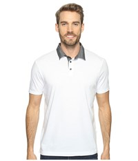Perry Ellis Pima Chambray Polo Shirt Bright White Men's Clothing
