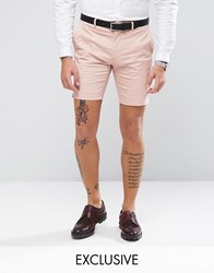 Only And Sons Skinny Shorts In Cotton Sateen Misty Rose Pink