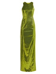Galvan Reflection Sequinned Gown Green