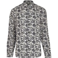 River Island Mens White Floral Print Shirt