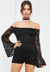 Missguided Black Long Sleeve Lace Bardot Playsuit