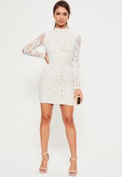 Missguided White Lace High Neck Bodycon Dress Black