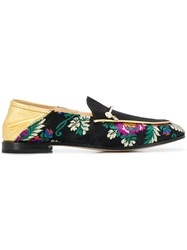 Fabi Floral Embroidered Loafers Black