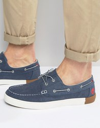 Timberland Newport Canvas Boat Shoes Blue