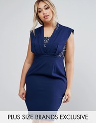 Little Mistress Plus Lace Insert Pencil Dress Navy