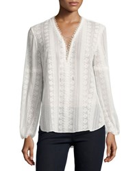 Elie Tahari Tanya Long Sleeve Lace Up Silk Blouse Ivory