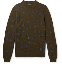 Paul Smith Ps Embroidered Wool Blend Sweater Green