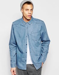Waven Denim Shirt Alf Western One Pocket Quarry Blue Light Wash Blue
