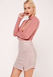 Missguided Sparkle Effect Double Spilt Front Mini Skirt Pink