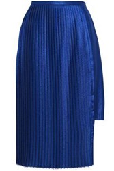 Each X Other Pleated Crepe De Chine Mini Skirt Royal Blue