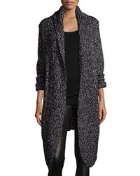 Haute Hippie Long Sleeve Open Front Blanket Cardigan Black Melange
