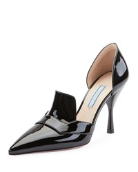 Prada Two Piece Patent Leather Point Toe Loafer Pumps Nero
