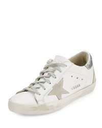Golden Goose Distressed Leather Low Top Sneaker White Silver White Silver