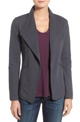 Caslonr Women's Caslon Cotton Knit Open Front Blazer Grey White Pattern