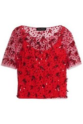 Jenny Packham Woman Embellished Tulle Top Red