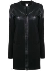 Chanel Vintage Leather Knitted Coat Black