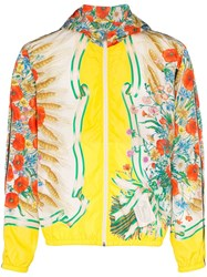 Gucci Floral Print Hooded Jacket Yellow