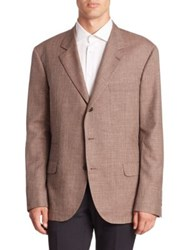 Brunello Cucinelli Wool Silk And Linen Blazer Brown