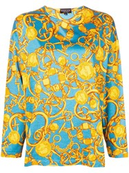 Gucci Vintage Chain Pattern Longsleeved Blouse Blue