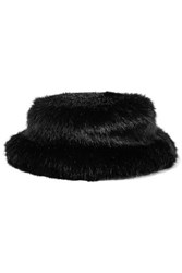 Emma Brewin Faux Fur Bucket Hat Black