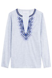 Christophe Sauvat Balkan Embroidered And Embellished Cotton Tunic Blue