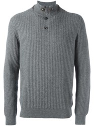 Ermenegildo Zegna Buttoned High Neck Jumper Grey