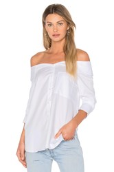 Tibi Notched Off Shoulder Shirt White