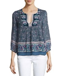 Joie Perialla Floral Print Silk Peasant Blouse Blue
