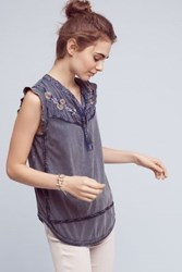 Meadow Rue Silvie Embroidered Top Blue