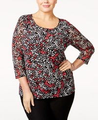 Alfani Plus Size Tiered Printed Mesh Top Only At Macy's Confetti Rose