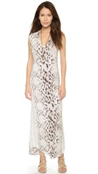 Haute Hippie Long V Neck Muscle Dress Buff Multi