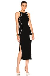 Thierry Mugler Contrasted Line Knit Dress In Black White Black White