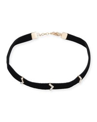 Kismet By Milka Velvet Choker Necklace With Diamond Chevron Stations