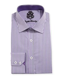 English Laundry Mini Check Cotton Dress Shirt Purple