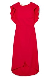 Antonio Berardi Draped Wool Blend Dress Red