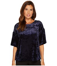 B Collection By Bobeau Emma Flutter Sleeve Top Midnight Navy Women's Short Sleeve Pullover Blue