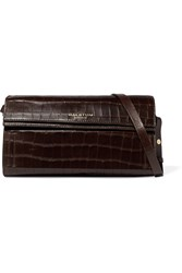 Halston Croc Effect Leather Shoulder Bag Brown