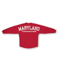 Royce Apparel Inc Women's Long Sleeve Maryland Terrapins Sweeper T Shirt Red