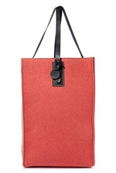 M Missoni Woman Leather Trimmed Two Tone Wool Blend Felt Tote Coral