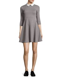 French Connection Collared Jersey Fit And Flare Dress Grey