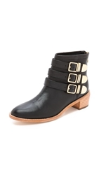 Loeffler Randall Fenton Buckle Booties Black Gold