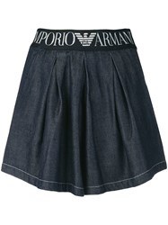 Emporio Armani Logo Band Denim Shorts Blue
