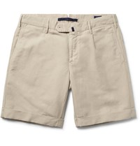 Incotex Slim Fit Linen And Cotton Blend Shorts Beige