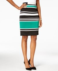 Nine West Striped Scuba Pencil Skirt Emerald Combo