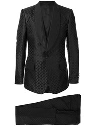 Dolce And Gabbana Jacquard Suit Black