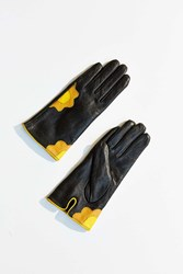 Urban Outfitters Leather Flower Power Glove Yellow