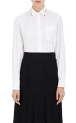 Valentino Women's Studded Collar Cotton Poplin Shirt White