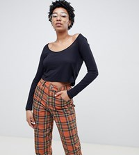 Noisy May Tall Scoop Neck Long Sleeve Cropped Top Black