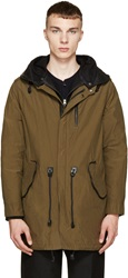 Mackage Olive Waxed Cotton And Leather Chip Coat