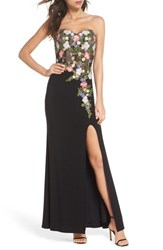 Blondie Nites Embroidered Strapless Gown Black Multi